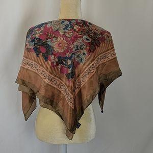 Vintage Honey 100%silk scarf muted floral pattern